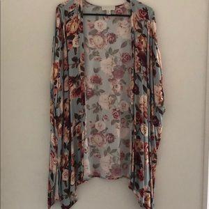 Rose print kimono